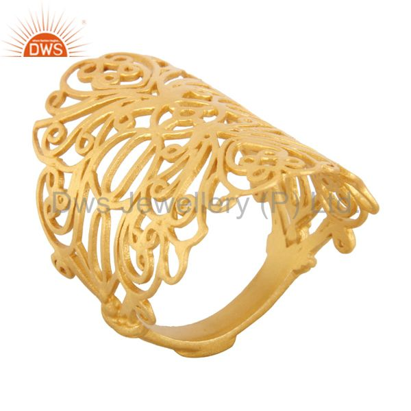 Suppliers 18K Yellow Gold Plated Sterling Silver Filigree Long Midi Finger Knuckle Ring
