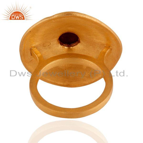 Suppliers 22K Yellow Gold Plated Dyed Ruby Granulated Rope Cocktail Brass Ring