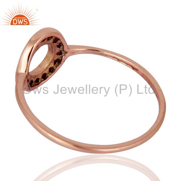 Suppliers Solid 9K Rose Gold 0.16 Carat Round Pink Sapphire Gemstone Solitaire Womens Ring