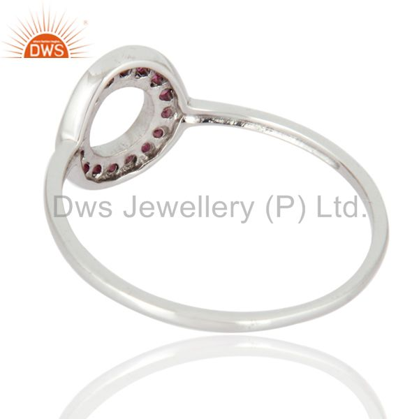 Suppliers Natural Pink Sapphire Gemstone 9K White Gold Stacking Ring
