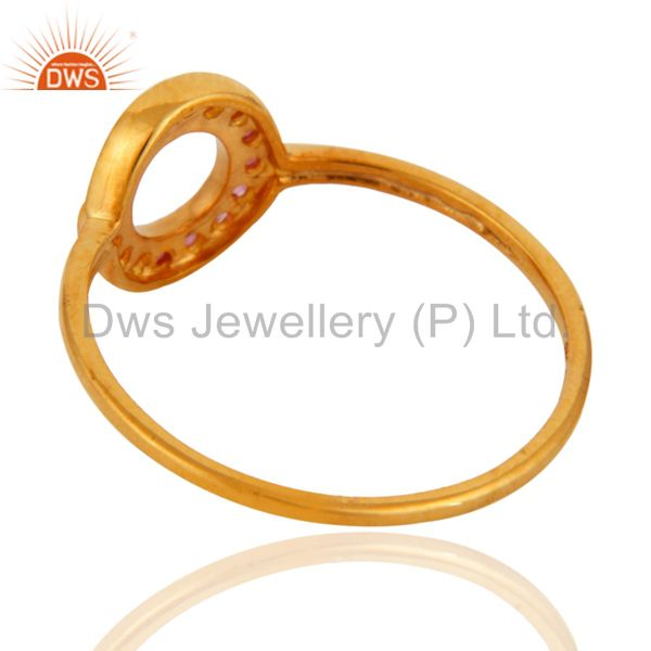Suppliers 9K Yellow Gold Natural Pink Sapphire Gemstone Open Circle Ring