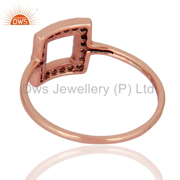 Suppliers Natural White Topaz Gemstone 9K Rose Gold Solitaire Ring Wedding Fine Jewelry