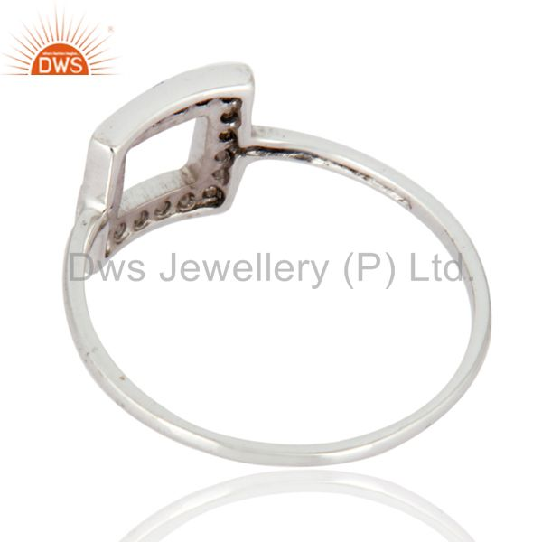 Suppliers 9K White Solid Gold Designer White Topaz Engagement Ring