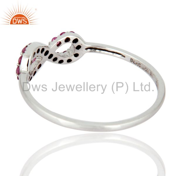 Suppliers 9K White Solid Gold Pink Sapphire Engagement and Wedding Ring With Pave Setting
