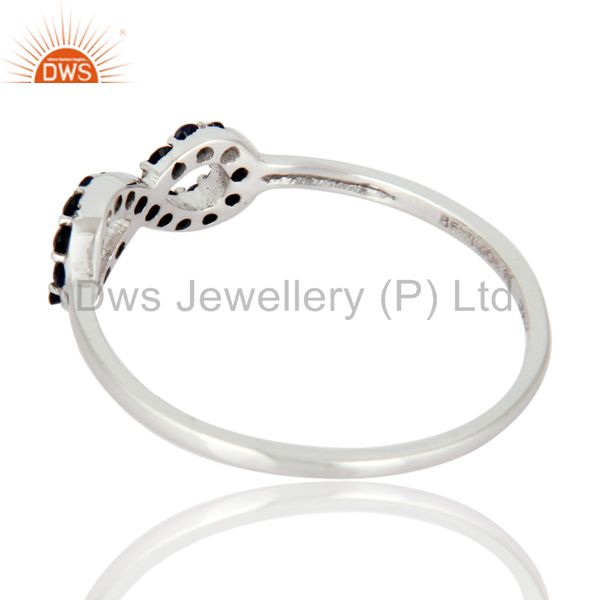Suppliers 9K White Gold Blue Sapphire Gemstone Accent Infinity Symbol Ring