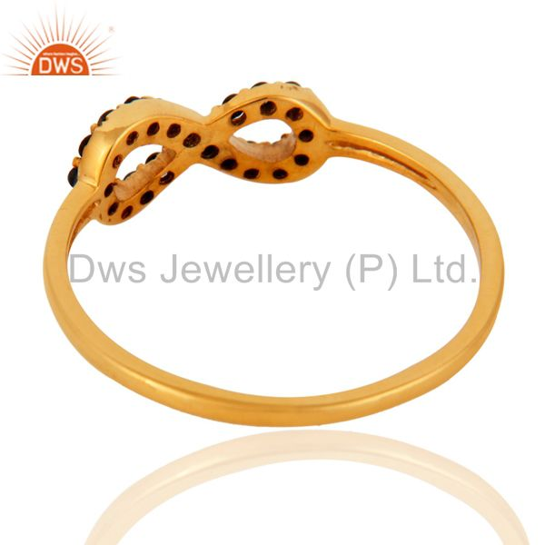 Suppliers Handmade 9K Yellow Gold Pave Set Blue Sapphire Infinity Bridal Engagement Ring
