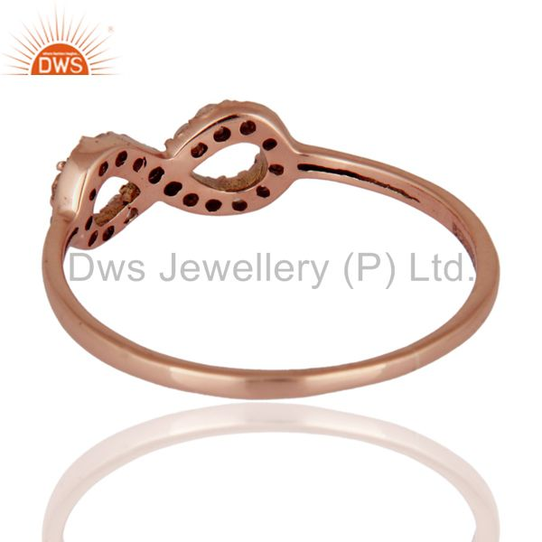 Suppliers White Topaz Accent Promise Infinity Ring Made in Solid 9K Rose Gold Jewelry