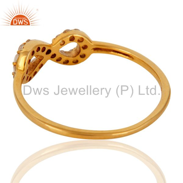 Suppliers White Topaz Accent Promise Infinity Ring Made in Solid 9K Yellow Gold Jewelry