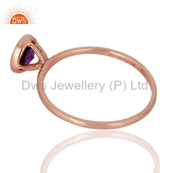 Suppliers Handmade 9ct Rose Solid Gold Natural Amethyst Gemstone Engagement Rings