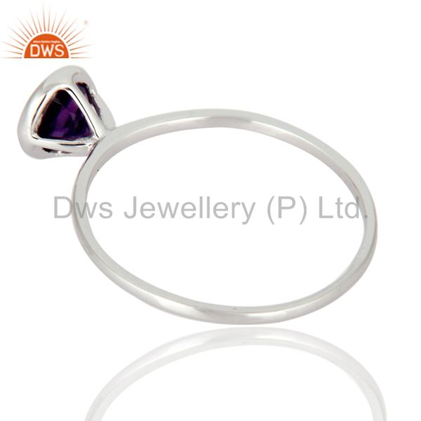 Suppliers Handmade 9K Solid White Gold Natural Amethyst Gemstone Engagement Ring Size 8