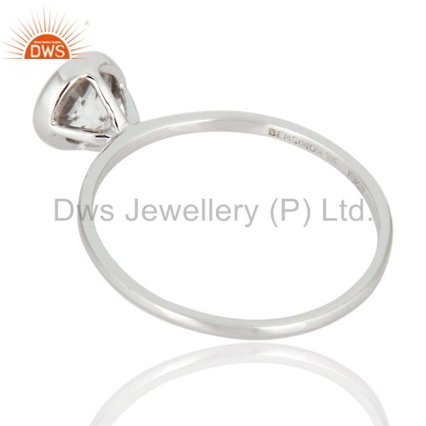 Suppliers Handmade Natural Clear Quartz Crystal 9K Solid White Gold Engagement Ring Size 8