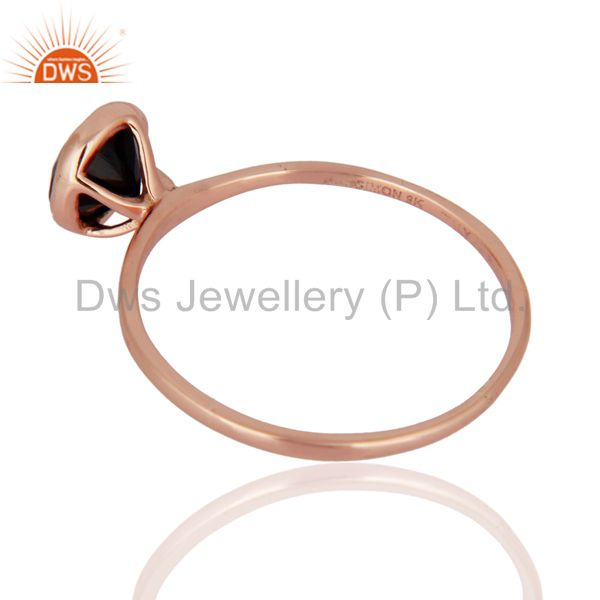 Suppliers 9ct Rose Solid Gold Natural Black Onyx Gemstone Engagement / Wedding Ring