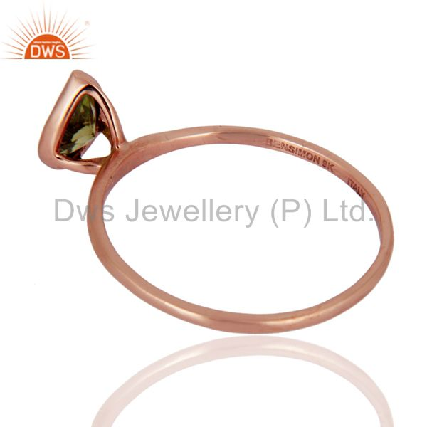 Suppliers 9K Rose Gold Green Peridot Gemstone Engagement Wedding Band Ring