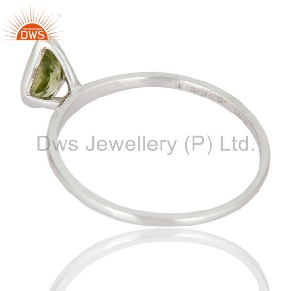 Suppliers Solid 9K White Gold Peridot Gemstone August Birthstone Ring