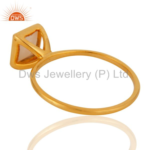 Suppliers 9K Yellow Gold White Agate Square Shape Gemstone Bezel Set Stacking Ring