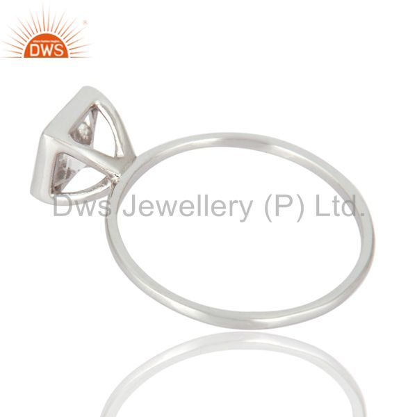 Suppliers Square-Cut Smoky Quartz Gemstone Solid 9K White Gold Wedding Stacking Ring