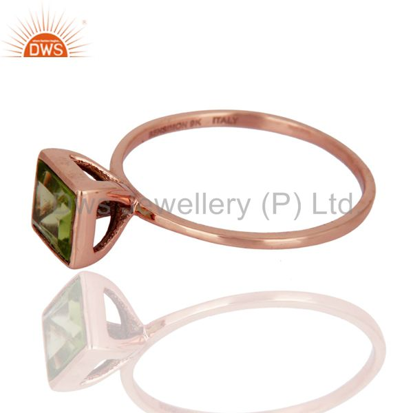 Suppliers 9K Solid Rose Gold Peridot Square Shape Gemstone Engagement / Wedding Ring