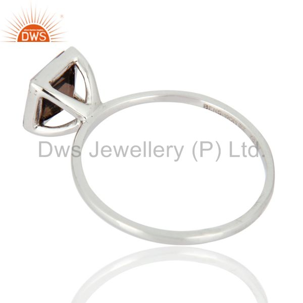 Suppliers Natural Smoky Quarz Gemstone Engagement / Wedding Ring In 9K Solid White Gold