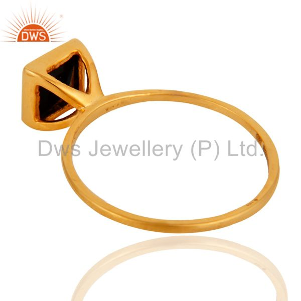 Suppliers 9K Solid Yellow Gold Black Onyx Gemstone Womens Engagement Stacking Ring