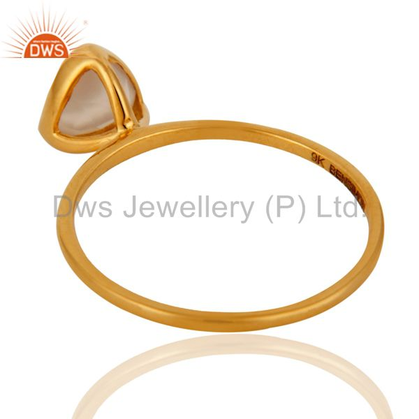 Suppliers 9K Solid Gold Natural White Agate Handmade Engagement Stacking Ring Gift For Her