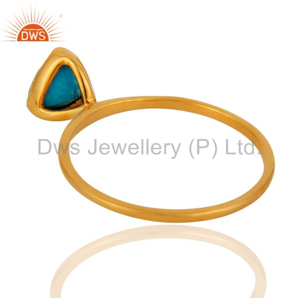 Suppliers Handmade Designer 9k Yellow Gold Natural Turquoise Gemstone Stacking Ring Jewelr