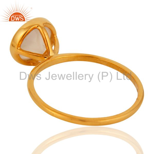 Suppliers 9K Yellow Gold White Agate Round Shape Gemstone Stackable Ring