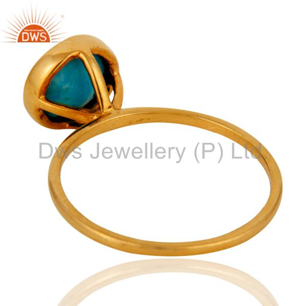 Suppliers Beautiful 9ct Yellow Gold December Birthstone Turquoise Ring For Birthday Gift