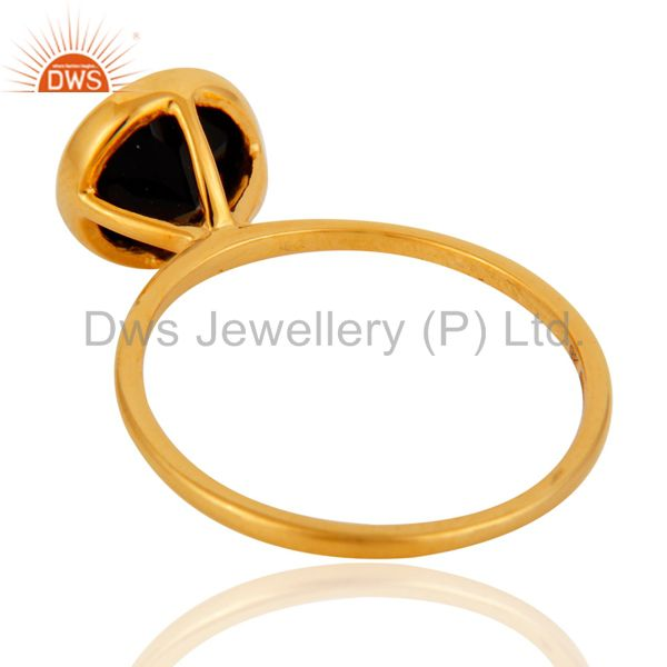 Suppliers 9K Solid Yellow Gold Round Cut Black Onyx Gemstone Engagement Stacking Ring