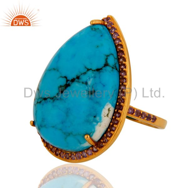 Suppliers Gorgeous 9k Solid Yellow Gold Turquoise & Amethyst Wedding Day Ring For Womens