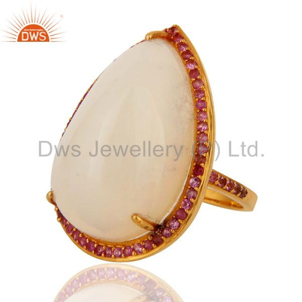 Suppliers Handmade Natural Fire Opal Gemstone 9K Yellow Gold Ring With Pink Sapphire