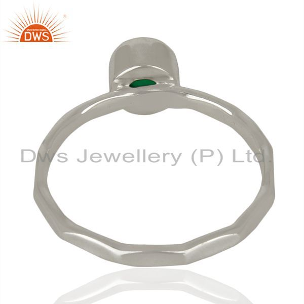 Suppliers Natural Green Onyx Gemstone 925 Sterling Fine Silver Ring Jewelry