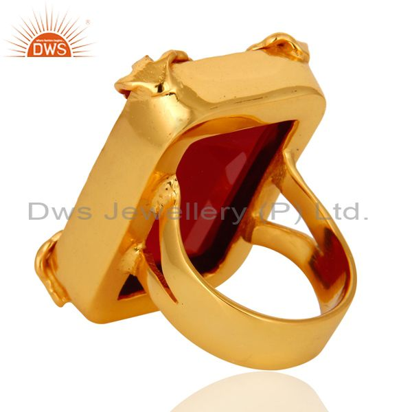 Suppliers 18K Yellow Gold Plated Dyed Pink Chalcedony Gemstone Ring