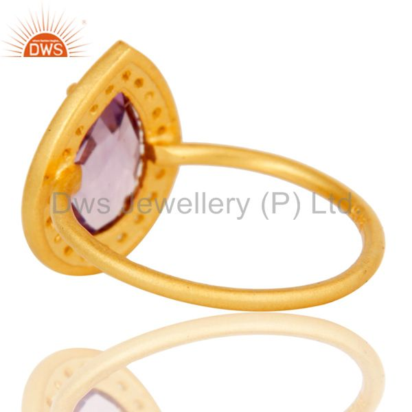 Suppliers 18k Yellow Gold Plated Sterling Silver Amethyst & White Topaz Stacking Ring