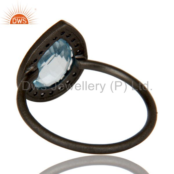 Suppliers Oxidized Sterling Silver Blue Topaz And White Topaz Stacking Ring