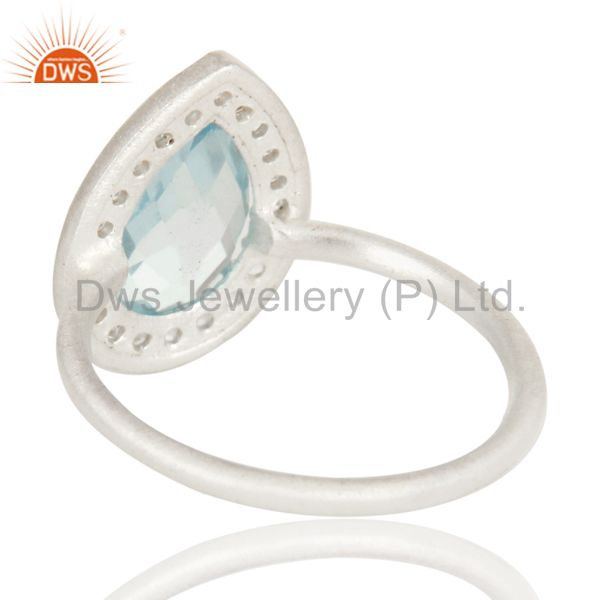 Suppliers 925 Sterling Silver Natural Blue Topaz And White Topaz Stacking Ring