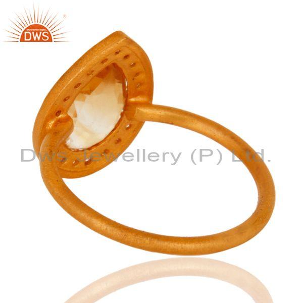 Suppliers 18K Gold Plated Sterling Silver Natural Citrine And White Topaz Stacking Ring