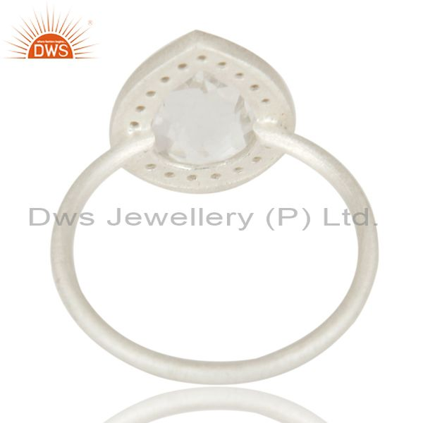 Suppliers Handmade Solid 925 Sterling Silver White Topaz & Crystal Quartz Prong Set Ring