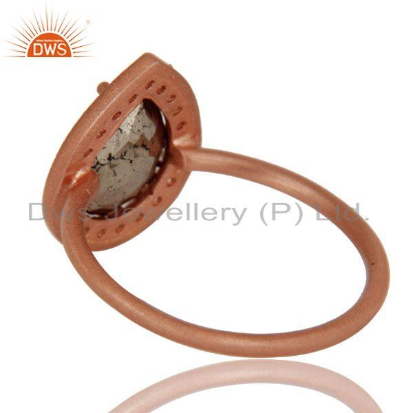 Suppliers 18K Rose Gold Plated Sterling Silver Pyrite And White Topaz Stackable Ring