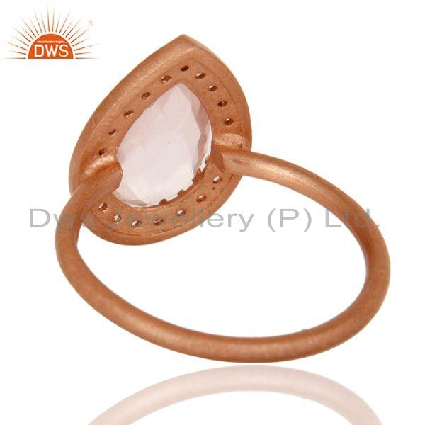 Suppliers 18K Rose Gold Plated Sterling Silver Rose Quartz And White Topaz Stack Ring