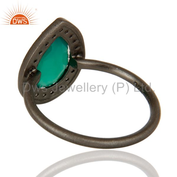 Suppliers Oxidized Sterling Silver Green Onyx And White Topaz Stacking Ring