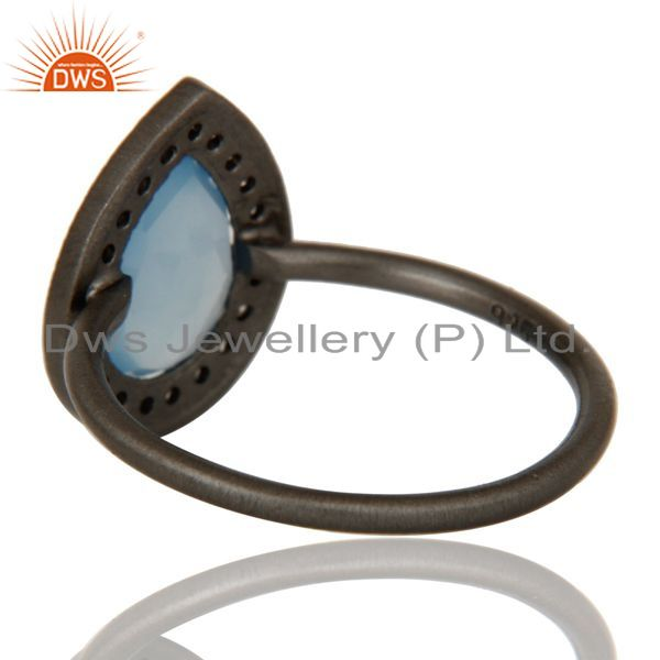 Suppliers Black Oxidized Sterling Silver Chalcedony And White Zircon Stacking Ring