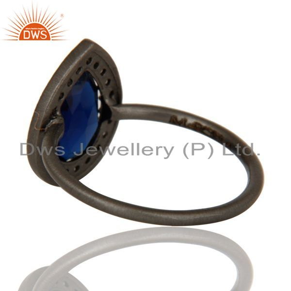 Suppliers Oxidized Sterling Silver Corrundum And White Topaz Stacking Ring