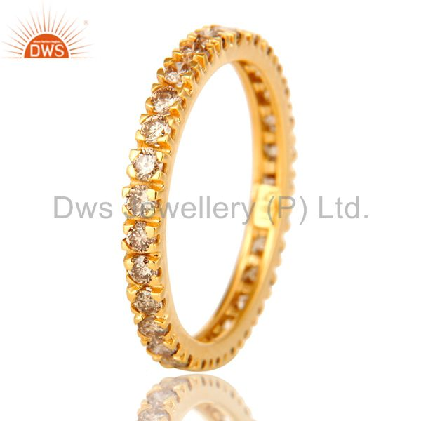 Suppliers Natural Pave Set Diamond Eternity Band set in Solid 18K Yellow Gold