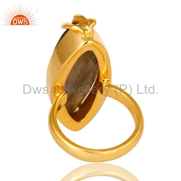 Suppliers 14K Yellow Gold Plated Brass Faceted Labradorite Gemstone Statement Ring