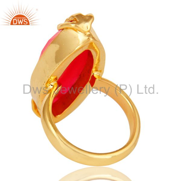 Suppliers 18K Yellow Gold Plated Peach Moonstone Faceted Gemstone Ring