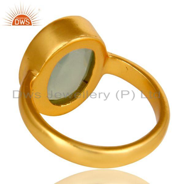 Suppliers Dyed Aqua Blue Chalcedony Gemstone Bezel Set 14K Yellow Gold Plated Ring