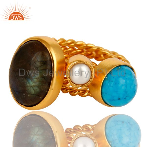 Suppliers Turquoise, Labradorite And White Pearl 14K Yellow Gold Plated Ring
