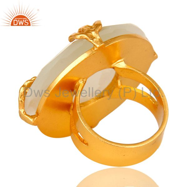 Suppliers 24K Yellow Gold Plated Brass Prong Set White Moonstone Cocktail Ring