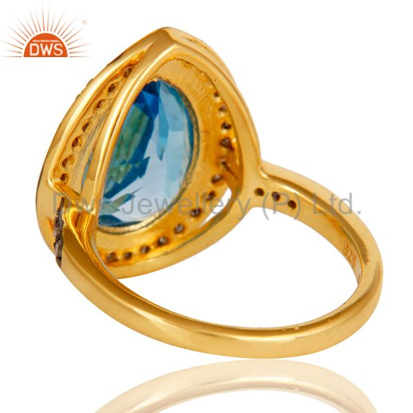 Suppliers 18k Gold Plated Sterling Silver Design Ring with Blue Topaz & Diamond