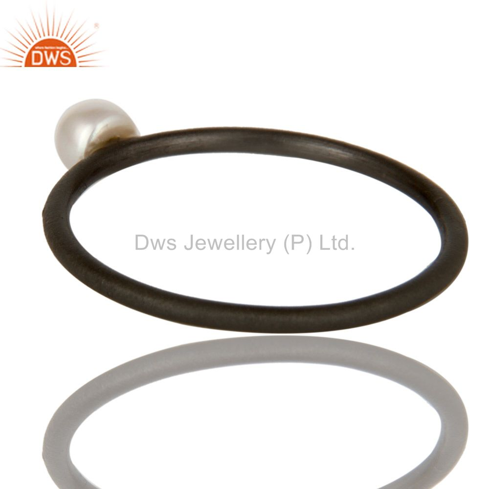Suppliers Oxidized 925 Solid Sterling Silver Natural White Pearl Stackable Ring